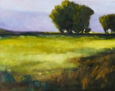 Prairie Landscape, Minimalist Oil Painting, Original Country Scene, Meadow and Trees, 11x14 on Gallery Canvas, Wall Decor