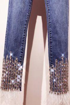 122c02d9a94 2019 Trendy Beading Rhinestone Jean pants Women slim fit pencil leggings  bling bling diamonds decoration jeans