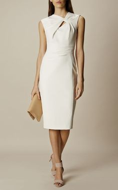 Karen Millen, KNOT DETAIL PENCIL DRESS Ivory