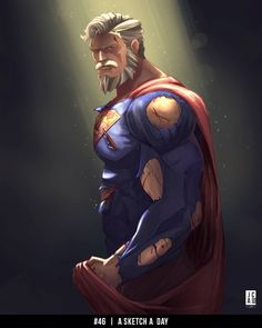 My last entry for I figure Superman will have to come back at some point. I like to think he he has aged and and can't… Old Superman, Superman Artwork, Superman Family, Superman Comic, Superman Man Of Steel, Superman Wonder Woman, Superman Beard, Dc Comics Art, Marvel Dc Comics