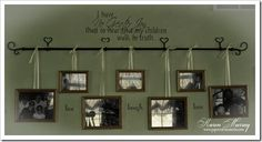 Hang pictures from a curtain rod using ribbon - LOVE THIS