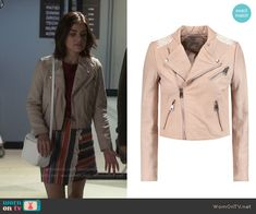 Aria's pink leather jacket on Pretty Little Liars. Outfit Details: https://wornontv.net/58609/ #PLL Buy it here: http://wornon.tv/36957