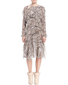 B2MDP Chloe Long-Sleeve Wave-Print Dress