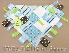 Baby Tag Blanket, Taggie Sensory Toy, Ribbon Blanket, Lovie, blue, brown, dogs, puppies