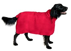 The Snuggly Dog Easy Wear 100% Microfiber Dog Bath Towel. Holiday Sale! 400gsm Microfiber for an Ultra Soft, Moisture Absorbent Fast Drying Dog Robe. Stays on your Wet Dog until Dry. Medium Red The Snuggly Dog