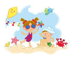 Have a fun time at the beach! Drawing For Kids, Painting For Kids, Art For Kids, 2 Clipart, Beach Illustration, Painting Wallpaper, Pebble Painting, Digi Stamps, Pictures To Draw