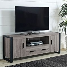 60-inch Urban Blend Ash Grey Wood TV Stand | Overstock.com Shopping - Great Deals on Entertainment Centers