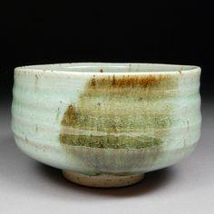 Matcha Chawan Tea Bowl glazed with Satin Celadon over Iron Slip with Natural Iron Spots