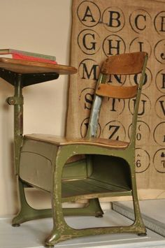 This old school desk is what I use to sit in all day because in grammar school you didn't change classes all day! I thought I was in jail, ha ha!