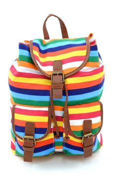 Γυναικείο σακίδιο πλάτης με πολύχρωμες ρίγες. Κλείνει με μαγνητικό κούμπωμα και το ύφασμα της είναι εξαιρετικής ποιότητας canvas. Diaper Bag, Backpacks, Bags, Fashion, Handbags, Moda, Fashion Styles, Diaper Bags, Mothers Bag