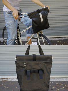 BLACK HANDLEBAR BAG - bicycle bag converting to a tote bag - stylish bike bag - leather-like denim - water resistant