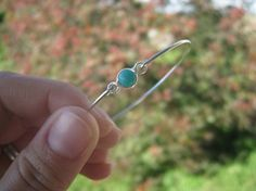 TEAL CHALCEDONY bangle bracelet by Protego on Etsy, $6.95