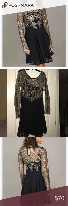 NWOT Altard State Golden Age Dress Perfect condition, black with gold detail at the top. Altar'd State Dresses Long Sleeve