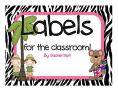 Labels for the Classroom Zebra and Jungle Theme ----- FREE