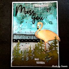 Christmas Miss You card by smouwen - at Splitcoaststampers - 1/29/18.  (Pin#1: Birds: Parrots...Flamingoes...  Pin+: Background: Textures - Embossing Paste).