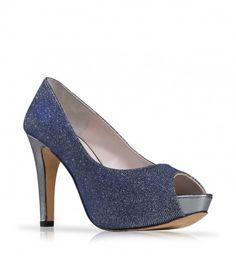 Zapato de fiesta azul en glitter