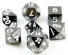 Tell your story with metal RPG dice. These metal dice are made with heavy, solid zinc and plated with shiny, polished nickel. The sterling gray finish looks absolutely amazing. All numbers are oversiz