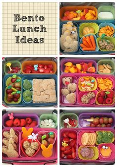 Healthy Snacks Discover Bento Lunch Ideas: Week 1 - Smashed Peas & Carrots Cute healthy lunch ideas for kids or adults.) Love the use of silicone cupcake cups for mini-containers!