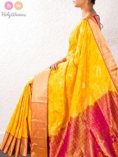 #Yellow #South #Silk #Tanchoi #Brocade #Saree #HolyWeaves