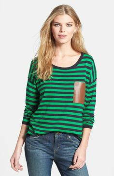 MICHAEL Michael Kors Faux Leather Pocket Stripe Sweater available at #Nordstrom