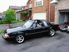 Mustang notchback / coupe with T-tops (only available in 1987 and early Mustang Parts, Fox Body Mustang, Ford Mustang Gt, Notchback Mustang, Classic Mustang, Old School Cars, Pony Car, Sweet Cars, Custom Wheels