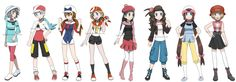 Alternate outfits for the female player characters in the Pokemon main series games. Poses from SenshiStock.