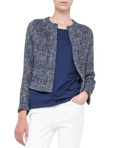 Loose-Woven Short Jacket, Azurite by Akris at Bergdorf Goodman.