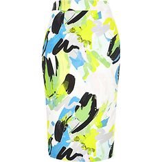 Green abstract print pencil skirt $70.00