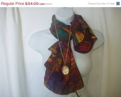 Holiday Sale Vintage Silk Scarf and Necklace