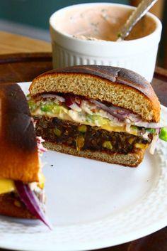 Black Bean, Quinoa, and Sweet Potato Veggie Burgers from Feast on the Cheap