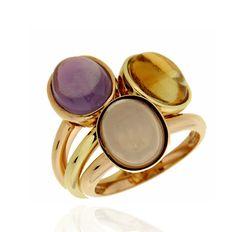 KLASS TRIO Ref: 37992-38018-37968 Conjunto formado por tres sortijas de amatista, cuarzo rosa y citrino. Las monturas son de oro rosa y oro amarillo. Las piezas encajan una en otra y se pueden llevar tambien individualmente
