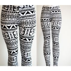 Tribal Womens Aztec Mayan Print Pattern Black and White Leggings... ($28) ❤ liked on Polyvore