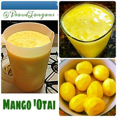 MANGO OTAI: 16 medium ripe mangos (10 cups cut fruit) 1 quart heavy cream 4 cups pineapple juice 2 1/2 cups coconut cream 1/2 cup sugar 2 1/2 cups crushed ice Directions: Peel and grate mangos into a large container or bowl. Add heavy cream, pineapple juice, coconut cream, sugar and crushed ice. Mix with a large spoon to blend ingredients and dissolve sugar. Refrigerate or serve immediately. Drink must be stirred before serving if it is held in the refrigerator. Makes 24 8-ounce servings :)