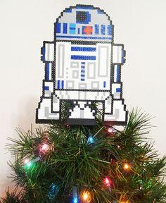 Star Wars R2D2 Perler Bead Christmas Tree Topper by LighterCases, $75.00