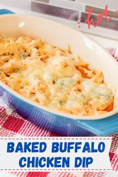 The best baked buffalo chicken dip made easy in the oven. Layer together your ingredients (don't forget the Frank's Red Hot Sauce!) for the maximum buffalo dip flavour at your next party! Use a rotisserie or Instant pot chicken and make this ooey-gooey oven-baked treat that is a crowd-pleaser. Easy To Make Appetizers, Easy Food To Make, Yummy Appetizers, Appetizer Recipes, Baked Buffalo Chicken Dip, Buffalo Dip, Easy Party Food, Party Snacks, Chicken Lunch Recipes