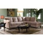 Klaussner Furniture – Drew Sectional Sofa in Khaki Microsuede with Right Facing Chaise - DREWSECTB-1-E16R  SPECIAL PRICE: $1,279.00
