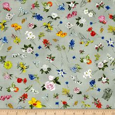 Moda State Flowerscape State Flower Toss Grey Fabric By The Yard