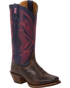 Tony Lama Tobacco Faro 3R Western Cowgirl Boots - Square Toe , Brown