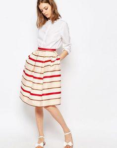Paul and Joe Sister Croisette Red Stripe Full Midi Skirt