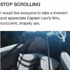 "Shingeki no Kyojin » Humor | ""Take a moment and appreciate Captain Levi's firm, succulent, shapely ass"" 