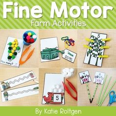 Teach farm life to your preschool, kindergarten, or homeschool students with these 10 fine motor skills. The activities can be performed multiple ways, as they help develop the #FineMotor skills of prek or kinder students. Some of the activities are printables, while others require little prep work like laminating. Perfect for small groups, morning tubs, centers, or any time you want your students to practice their fine motor skills. #Preschool #Kindergarten #FarmTheme