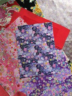 Japanese Chirimen Kimono and Obi fabric set