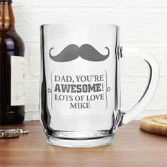 Personalised Moustache Glass Tankard