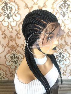 Option to Upload a style of your choice on your order at and we will make it for you in lace wig u Twist Braid Hairstyles, African Braids Hairstyles, Boho Hairstyles, Twist Braids, Twists, Front Braids, Big Braids, Braids Wig, Two Cornrows