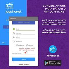Sabia q vc também pode ganhar Tickets se o amigo convidado se cadastra no App Joysticket?  #dica #joysticket