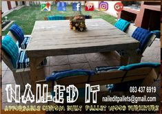 8 Seater patio / outdoor set. Affordable pallet wood furniture designed by you, built by us. For more info, contact 0834376919 or naileditpallets@gmail.com. #patiofurniture #palletpatioset #palletwoodpatiofurniture #nailedpalletfurnituredurban #naileditcustombuiltpalletfurniture #nailedcustompalletfurniture #custompalletfurniture