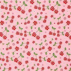 pink cherry and flower fabric by Robert Kaufman