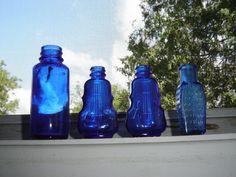 Cobalt Blue Vintage Glass Bottles