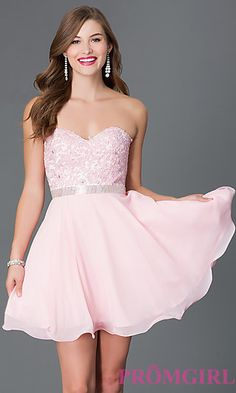 Short Strapless Sweetheart Dress with Lace Bodice 9184 at PromGirl.com