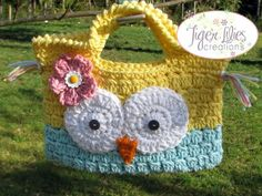 Owl Purse by TigerLiliesCreations - just ordered for my soon-to-be 2 year old. Owl Purse, Light Pink Flowers, Button Eyes, New Crafts, Local Artists, Owls, Straw Bag, To My Daughter, Aqua